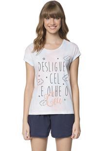 Pijama De Verão Feminino Que Brilha No Escuro Céu Lua Encantada