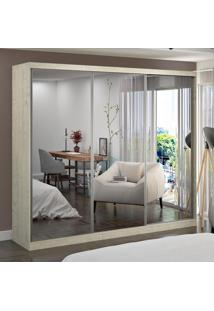 Guarda-Roupa Casal 3 Portas Com 3 Espelhos 100% Mdf 774E3 Marfim Areia - Foscarini
