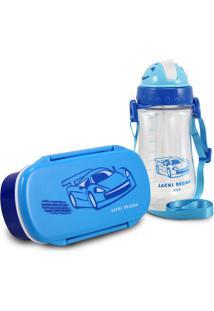 Conjunto Pote Para Lanche E Squeeze Infantil Menino Carro Jacki Design Sapeka Azul