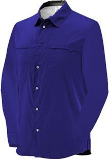 Camisa Manga Longa Salomon Strech Masculino G Marinho