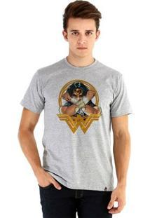 Camiseta Ouroboros Manga Curta Wonder Woman Masculina - Masculino-Cinza