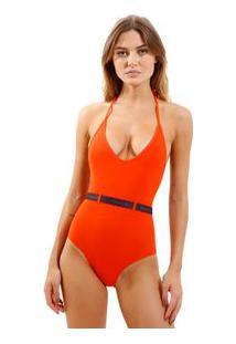 Body Rosa Chá Basic Elásticos 1 Beachwear Laranja Feminino Body Basic Elasticos 1-Pureed Pumpkin-P