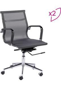 Jogo De Cadeiras Office Eames Tela- Cinza & Prateadoor Design