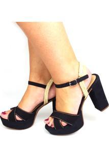 Sandália Love Shoes Meia-Pata Salto Grosso Cruzada Com Corda Preto
