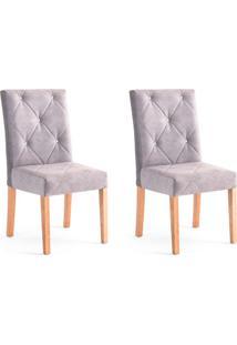 Conjunto Com 2 Cadeiras De Jantar Angel Cinza E Castanho