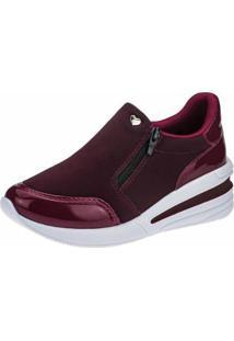 Tênis Sneaker Gigil Zíper Anabela Feminino - Feminino-Vinho