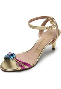 Sandália Amber Metalizada Nó Dourada/Rosa