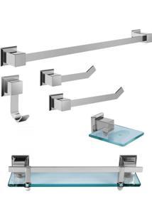 Kit Acessórios Para Banheiro 6 Peças Em Aço Premium Ducon Metais Cromado