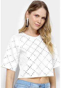 Camiseta My Favorite Thing (S) Cropped Hotfiz Xadrez Feminina - Feminino-Branco