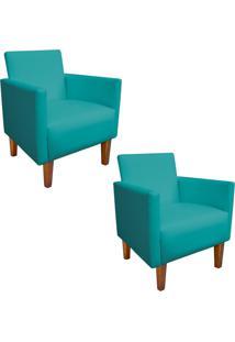 Kit 02 Poltrona Decorativa Compacta Jade Corino Azul Tiffany Com Pés Castanho - D'Rossi