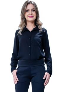 Camisa 101 Resort Wear Crepe Lisa Preto