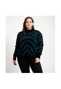 Blusão Em Tricô Estampa Animal Print Curve & Plus Size | Ashua Curve E Plus Size | Azul | G