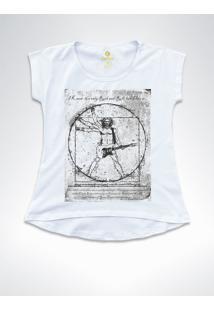Camiseta T-Shirt Feminina Rock Cool Tees Guitarra Da Vinci Branca - Branco - Feminino - Algodã£O - Dafiti