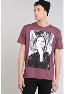 Camiseta Masculina Viúva Negra Manga Curta Gola Careca Vinho