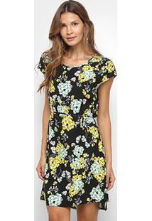 Vestido Pérola Floral Manga Curta - Feminino-Preto+Amarelo