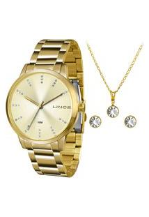 Kit De Relógio Analógico Lince Feminino + Brinco + Colar- Lrg4445L Kf36C1Kx Dourado