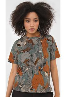 Camiseta Colcci Pássaros Bege/Laranja