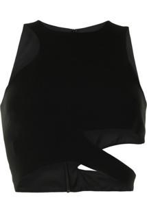 Mônot Blusa Cropped Assimétrica - Preto