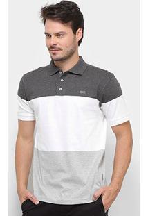 Camisa Polo Gajang Euro Marselha Masculina - Masculino-Cinza+Branco