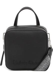 Bolsa Transversal Calvin Klein Relevo Preta
