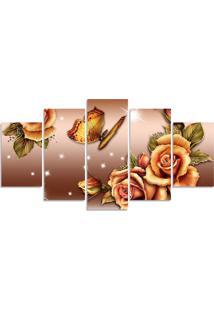 Quadro Decorativo Para Sala Casa Flor Bege Borboleta - Multicolorido - Dafiti