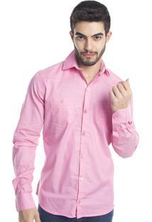 Camisa Tony Menswear Casual Com Elastano Rosa