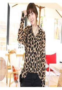 Camisa Social Feminina Leopardo
