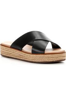 Sandália Couro Shoestock Flatform Tiras Cruzadas Feminina - Feminino-Preto