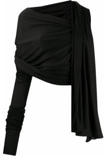 Dolce & Gabbana Blusa Drapeada Assimétrica De Lã - Preto