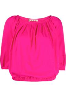 Marni Three-Quarter Sleeve Gathered Blouse - Rosa
