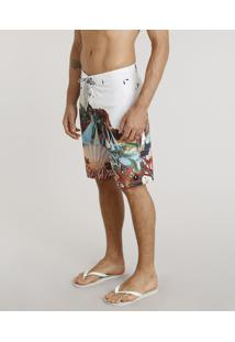Bermuda Surf Masculina Água De Coco Estampada Corais Off White