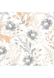Papel De Parede Flores Cinza E Bege (950X52)