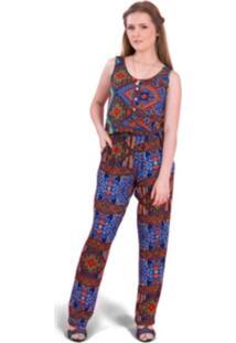 Macacão Tok Fashion Longo Estampa Étnica Azul
