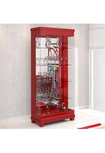 Cristaleira 2 Portas De Vidro E Luminária Bivolt Collins Vermelho - Urbe Móveis