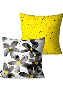 Kit Com 2 Capas Para Almofadas Pump Up Decorativas Amarelo Flores 45X45Cm