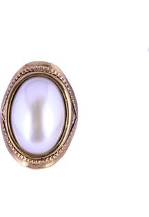 Anel Armazem Rr Bijoux Perola Oval Dourado