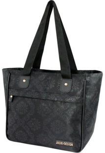 Bolsa Shopper Damasco Jacki Design Essencial Ii Preto