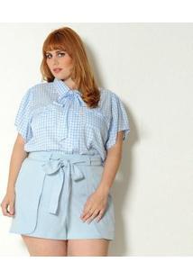 Camisa Vintage & Cats Plus Size Xadrez Vichy - Feminino-Azul Claro