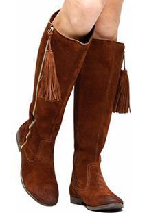 c6bb36ecc ... Bota Couro Over The Knee Shoestock Barbicacho Feminino - Feminino-Marrom