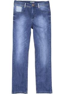 Calça Masculina Hering Em Jeans Tradicional Com Detalhe No Bolso