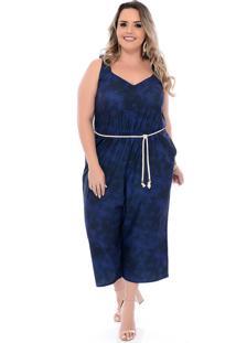 Macacão Plus Size Arimath Plus Pantacourt Tie Dye Azul