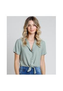 Camisa Feminina Cropped Com Nó Manga Curta Verde