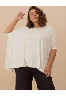 Blusa Ampla Plus Size Off White-Único Branco