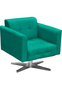 Poltrona Decorativa Elisa Suede Verde Turquesa Com Base Giratã³Ria Em Aã§O Cromado - D'Rossi. - Verde - Dafiti
