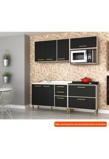 Cozinha Compacta Vitória 6 Pt 5 Gv Preta E Creme