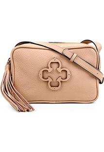 Bolsa Couro Capodarte Mini Bag Logo Tassel Feminina - Feminino-Nude