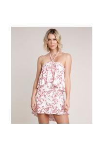 Vestido Feminino Curto Frente Única Estampado Floral Com Babado Off White