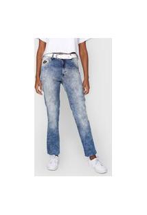 Calça Jeans Biotipo Reta Marmorizada Azul