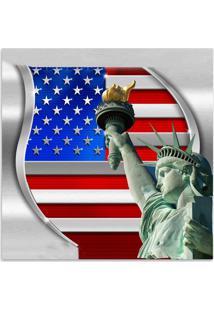 Quadro Bandeira Nova York Vermelho E Azul 45X45Cm