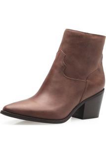Bota Feminina Corello Western Ankle Boot Couro Corello Bota Marrom